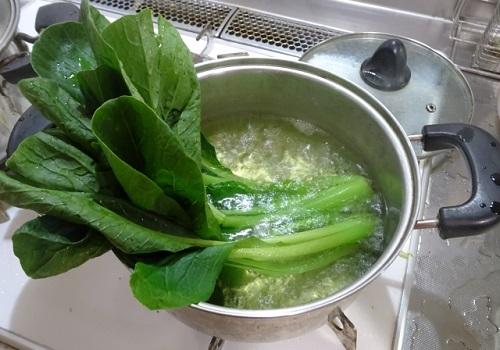 小松菜をゆでる
