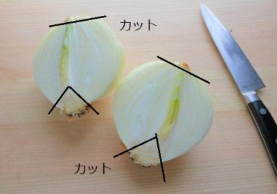 玉ねぎの薄切り(繊維を断つ方法)